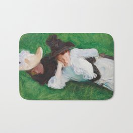 Two Girls on a Lawn by John Singer Sargent, 1889 Bath Mat