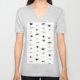 Funny fashion gold and black cute eyes pattern Unisex V-Neck