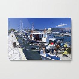 Fishing boats of Corfu Town Metal Print