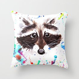 cute watercolor raccoon in a spray of paints Throw Pillow