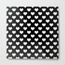 Black White Hearts Minimalist Metal Print
