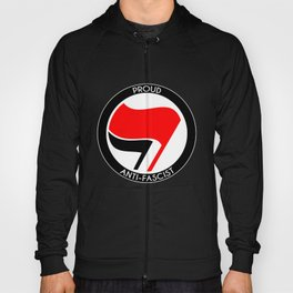 Proud Antifascist (white border) Hoody