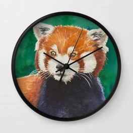 Red panda watercolor portrait Wall Clock