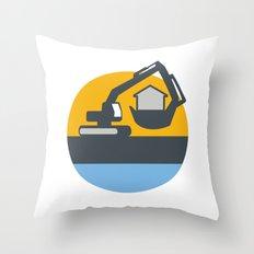 Excavator Digger Handling House Circle Retro Throw Pillow