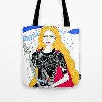 justice Tote Bags featuring Justice by Alxndra Cook