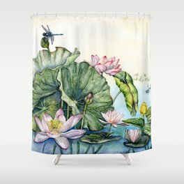Japanese Water Lilies and Lotus Flowers Shower Curtain