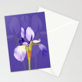 Purple Iris With Fading Iris and Purple Background Stationery Cards