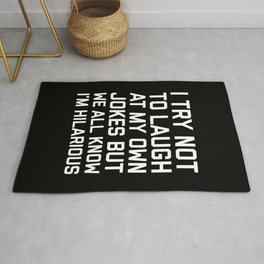 Laugh Own Jokes Funny Quote Rug