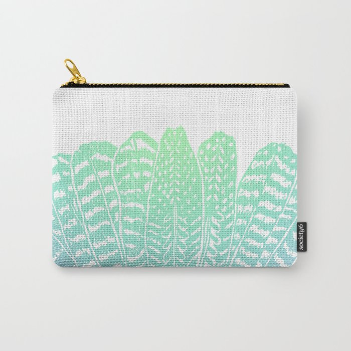 TRIBAL FEATHERS - SEAFOAM Carry-All Pouch