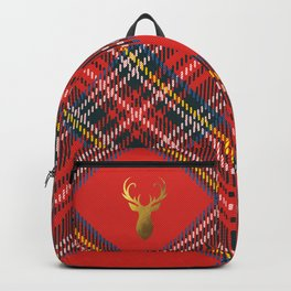 Gold Stag Head On Red Tartan Backpack
