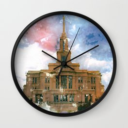 Payson LDS Temple Watercolor Photo Wall Clock