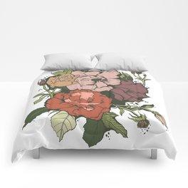 Rose Garden - Green & Red Comforters