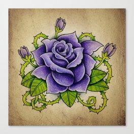 Purple Rose - Tattoo Art Canvas Print
