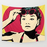 audrey Wall Tapestries featuring Audrey by Vee Ladwa