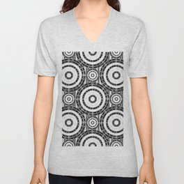 Geometric black and white Unisex V-Neck