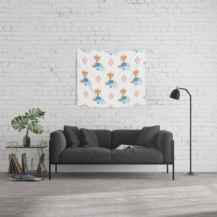Girl Fox with Pink Diamond Wall Tapestry