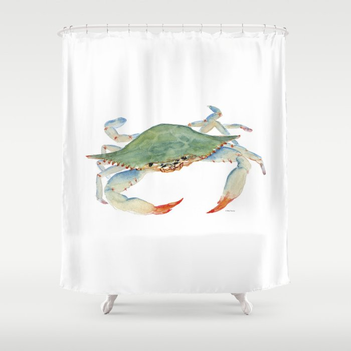 Blue Crab Shower Curtain By Mellyterpening