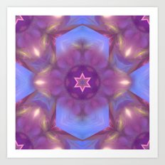 Star and fractal beauty in purple and blue Art Print