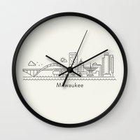 milwaukee Wall Clocks featuring Milwaukee by Anna Trokan