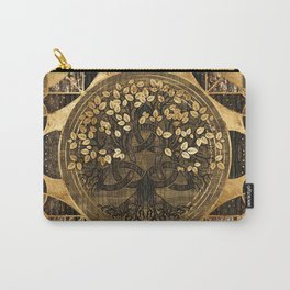Tree Of Life Gold Mahogany  Carry-All Pouch
