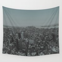 manhattan Wall Tapestries featuring Manhattan by Leah Flores