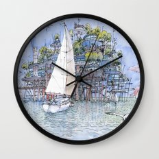 La Citta' sul mare Wall Clock
