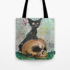 Black Cat with a Skull Tote Bag