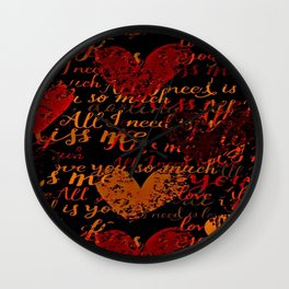 Kiss Me, Miss Me Red Wall Clock