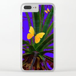 SURREAL GREEN AGAVE & YELLOW BUTTERFLIES ON VIOLET ART Clear iPhone Case