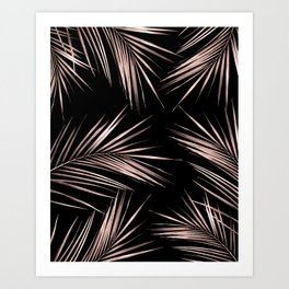 Rosegold Palm Tree Leaves on Midnight Black Art Print