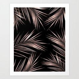 Rosegold Palm Tree Leaves on Midnight Black Kunstdrucke