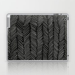 Herringbone Cream on Black Laptop & iPad Skin