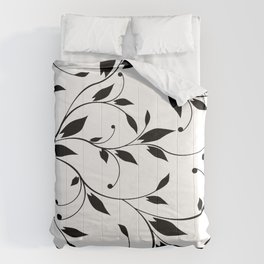 FLOWERY VINES | white black Comforters