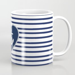 Modern navy blue white heart anchor nautical stripes Coffee Mug