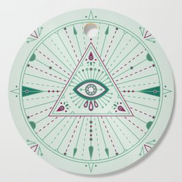 Evil Eye Mandala – Mint Cutting Board