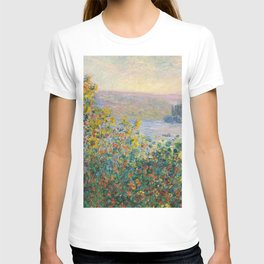 1881-Claude Monet-Flower Beds at Vétheuil-73 x 92 T-shirt