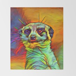 Animal ArtStudio -funky meerkat Throw Blanket