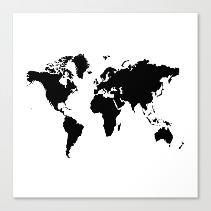 Black And White World Map Canvas Print
