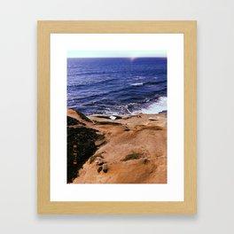 Rocks and Ocean in La Jolla Framed Art Print