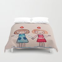 sisters Duvet Covers featuring Sisters by carosurreal