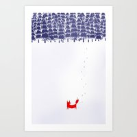 drawing Art Prints featuring Alone in the forest by Robert Farkas