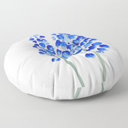 2 abstract blue grape hyacinth watercolor Floor Pillow