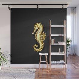 Gold Polygonal Seahorse Wall Mural