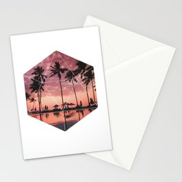 SUNSET PALMS- Geometric Photography Stationery Cards