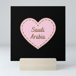 I Love Saudi Arabia Simple Heart Design Mini Art Print