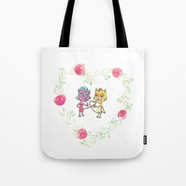 Cool Cats in Wreath-Pink Flowers Tote Bag