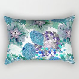 Blue with green flowers Rectangular Pillow