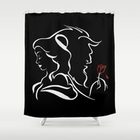 beauty and the beast Shower Curtains featuring Beauty And Beast BW by alexa