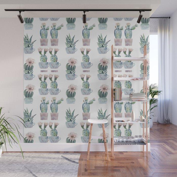 Girly Rose Cactus Pots Wall Mural