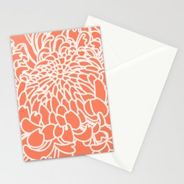 Coral Chrysanth 2 Stationery Cards